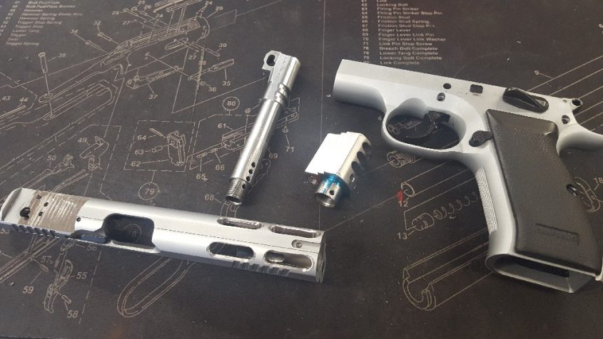 All the machine work is complete and the newly customised Tanfoglio XL4 is ready for the Cerakote process.